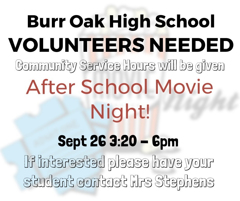 Volunteers Needed - Movie Night Sept 26